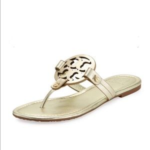New Tory Burch Gold Miller Sandals